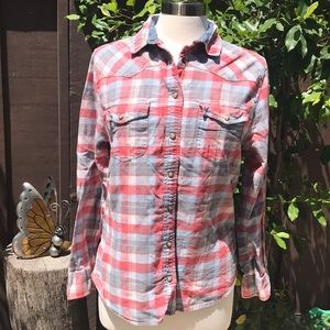 Jachs Girlfriend Bea Flannel Coral Pink and gray